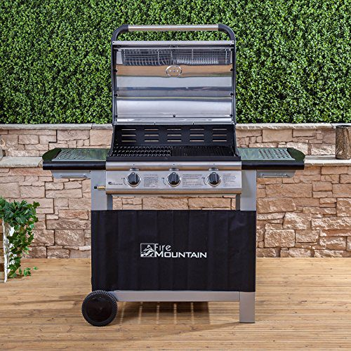 Fire Mountain Everest 3 Burner Gas Barbecue | Premium Stainless Steel | Superior Cast Iron Grill and Griddle | Large 63cm x 42cm Cooking Area