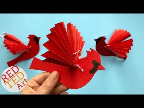 Paper Fan Bird Decoration – Paper Cardinal Ornament DIY – DIY Paper Christmas Ornaments