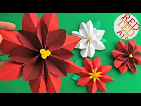Paper Flower DIY – Easy Poinsettia Decor DIY – DIY Christmas Decor – 3D Paper Room Decor