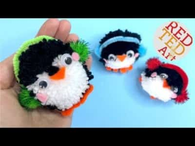 How to make Pom Pom Penguin DIY – Easy Penguin Ornaments